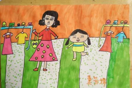 和妈妈一起洗衣服优秀的妇女节主题画分享