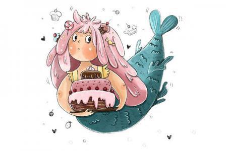 一组美人鱼插画