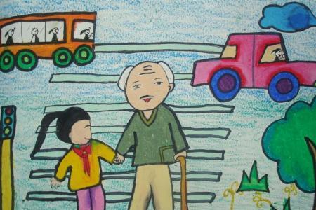 儿童画重阳节的图画-感恩重阳节