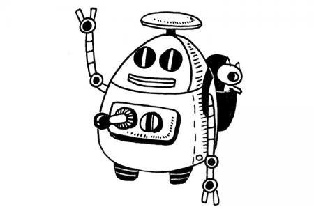 外星机器人简笔画