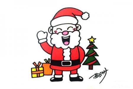 圣诞节快到了圣诞老人画起来