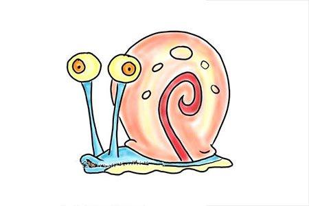 9步画出海绵宝宝中的小蜗牛