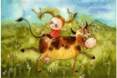 清明节儿童画 田园野趣