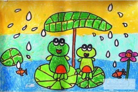 清明节儿童画图片-清明节下雨了