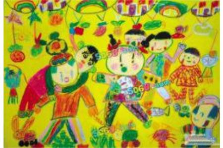 庆祝中秋节儿童画-中秋诵诗赏月