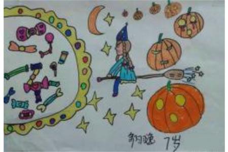 万圣节女巫儿童画,2015万圣节比赛儿童画作品