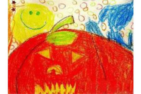 万圣节南瓜儿童画-恐怖万圣节南瓜灯