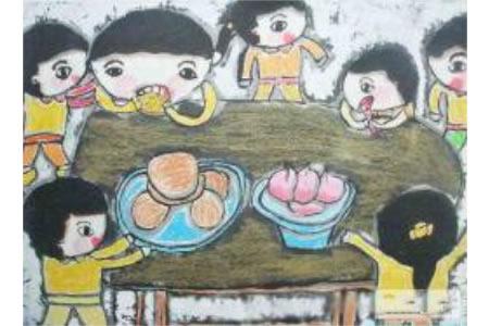 儿童版画 幼儿园的中秋节