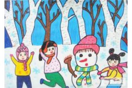 冬天儿童画作品欣赏