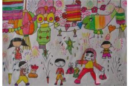 儿童画热闹的花灯会