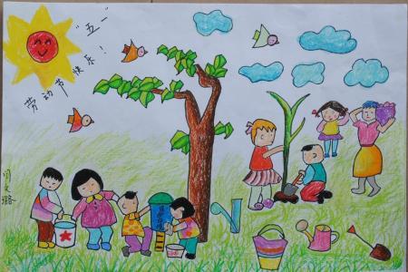 五一劳动节儿童画-劳动节好幸福