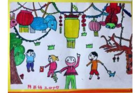 儿童画热闹赏花灯