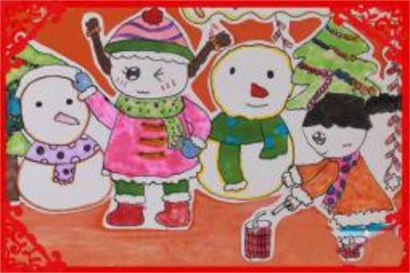 儿童画过新年放鞭炮