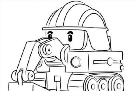 警车珀利挖掘机波克简笔画