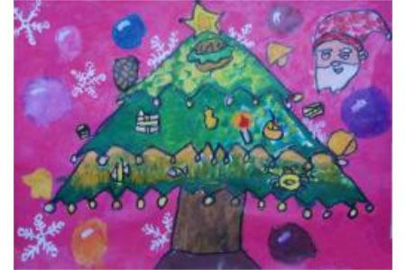 儿童水粉画作品 一棵圣诞树