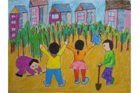 共建美好家园植树节小学生画作品赏析