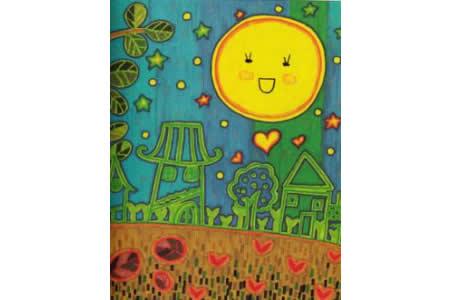 中秋节为主题儿童画-中秋月圆夜