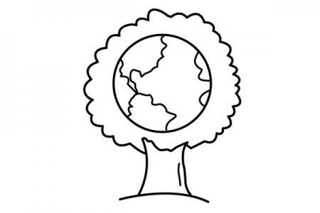 4张植树节创意简笔画图片
