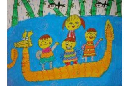 端午节儿童画赛龙舟图片-我们胜利了