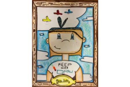 新年自画像小朋友画水彩画作品欣赏