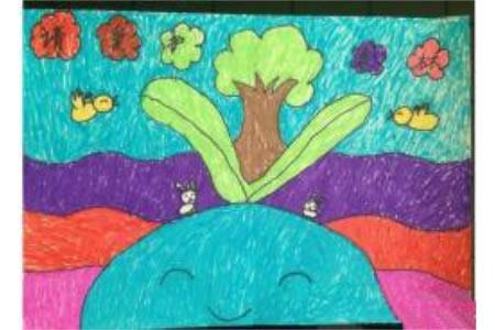 请爱护树木二年级植树节蜡笔画赏析