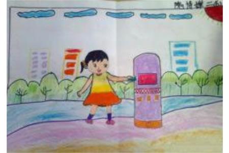二年级学雷锋主题画之扔垃圾的小姑娘