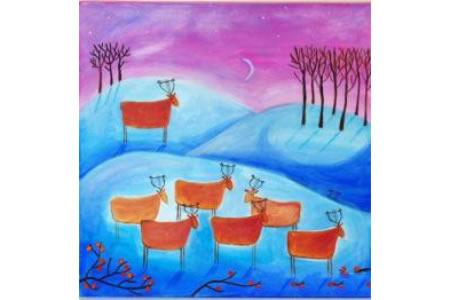 月光下的麋鹿冬天的景色画油画作品