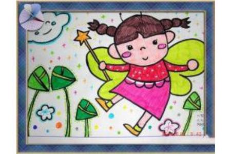 儿童画小女孩和粽子