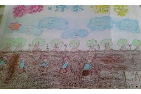 五一节儿童画-劳动与光荣