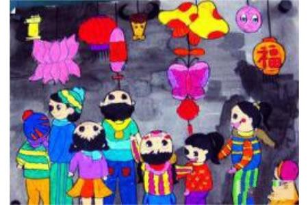 2017正月十五元宵节儿童画