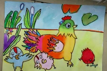 鸡妈妈和小鸡2017新年绘画作品赏析