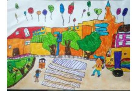 秋天的早晨开学了儿童画作品欣赏