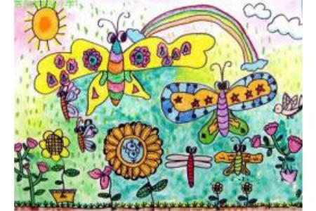 植树节儿童画素材-美丽的蝴蝶