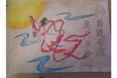 有关中秋节传说的儿童画作品大全-嫦娥奔月