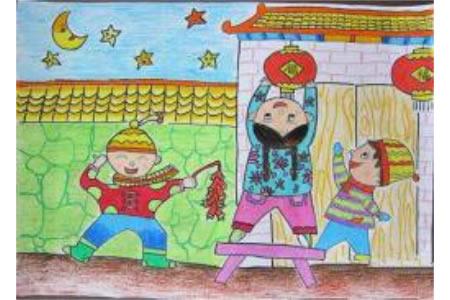 2017关于春节的儿童画作品大全