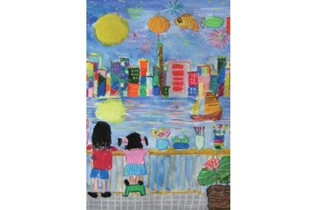 儿童画中秋节赏月-桥上看月亮