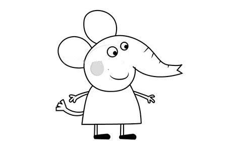 小猪佩奇之小象艾米丽简笔画