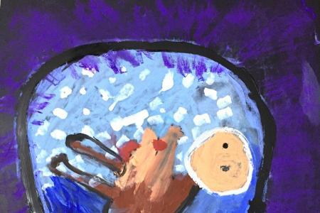 """水粉画""""胚胎"""" 母亲节儿童画作品"""