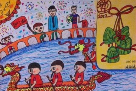 吃粽子划龙舟端午节民俗画优秀作品欣赏