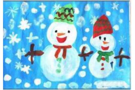 少儿雪人儿童画水彩画作品欣赏