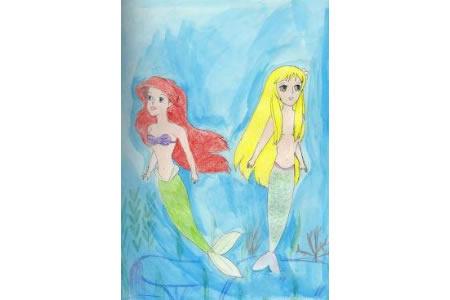 爱丽儿和她的姐姐美人鱼画画图片欣赏