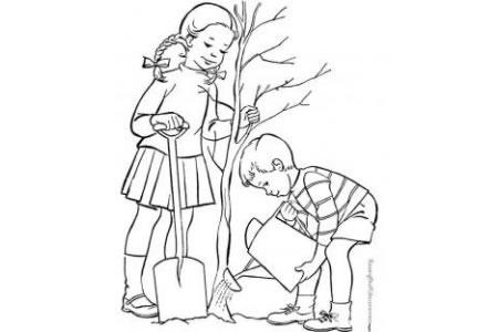 植树节人物简笔画素材