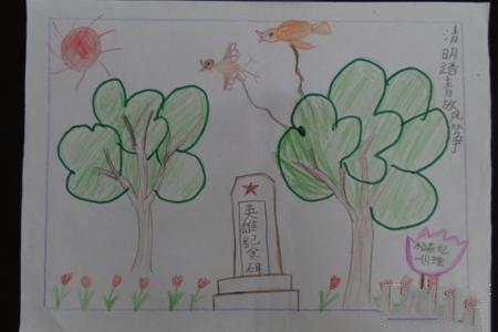 关于清明节的儿童画-清明踏青放风筝