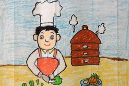 快乐的大厨劳动节简单图画作品赏析