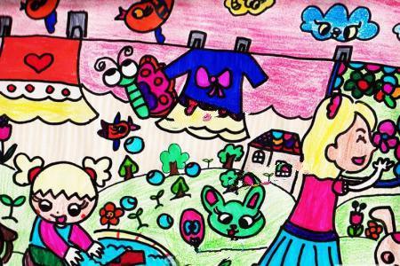 感恩节儿童画图片-我帮妈妈洗衣服