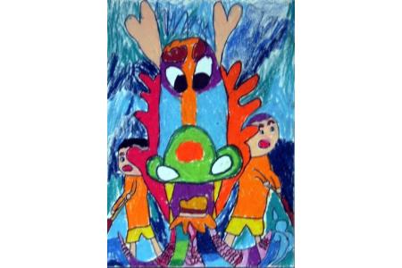 欢乐节日儿童画-端午赛龙舟