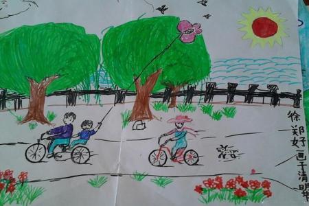 清明游玩二年级清明节踏青绘画作品分享