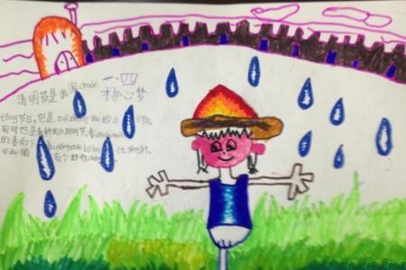 及时的春雨清明节小学生的绘画作品欣赏
