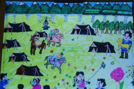 清明节踏青儿童画大全-节日的轻松