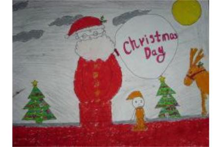 圣诞节儿童画 圣诞老人爬烟囱